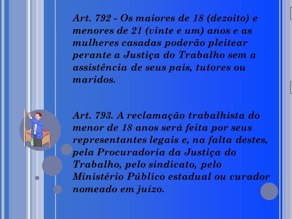 20/05/09 Art. 792 - Os maiores de 18 (dezoito) e menores de 21 (vinte e um) anos e as mulheres casadas poderão pleitear perante a Justiça do Trabalho