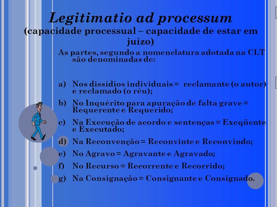 20/05/09 Legitimatio ad processum (capacidade processual – capacidade de estar em juízo) As partes, segundo a nomenclatura adotada na CLT são denomina