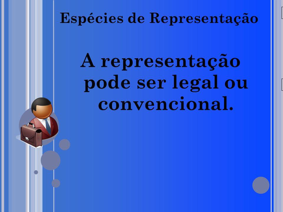 20/05/09 Espécies de Representação A representação pode ser legal ou convencional.