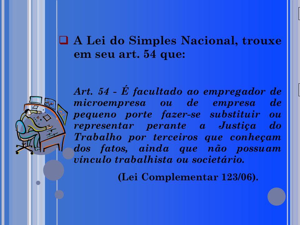 20/05/09 A Lei do Simples Nacional, trouxe em seu art. 54 que: Art. 54 - É facultado ao empregador de microempresa ou de empresa de pequeno porte faze
