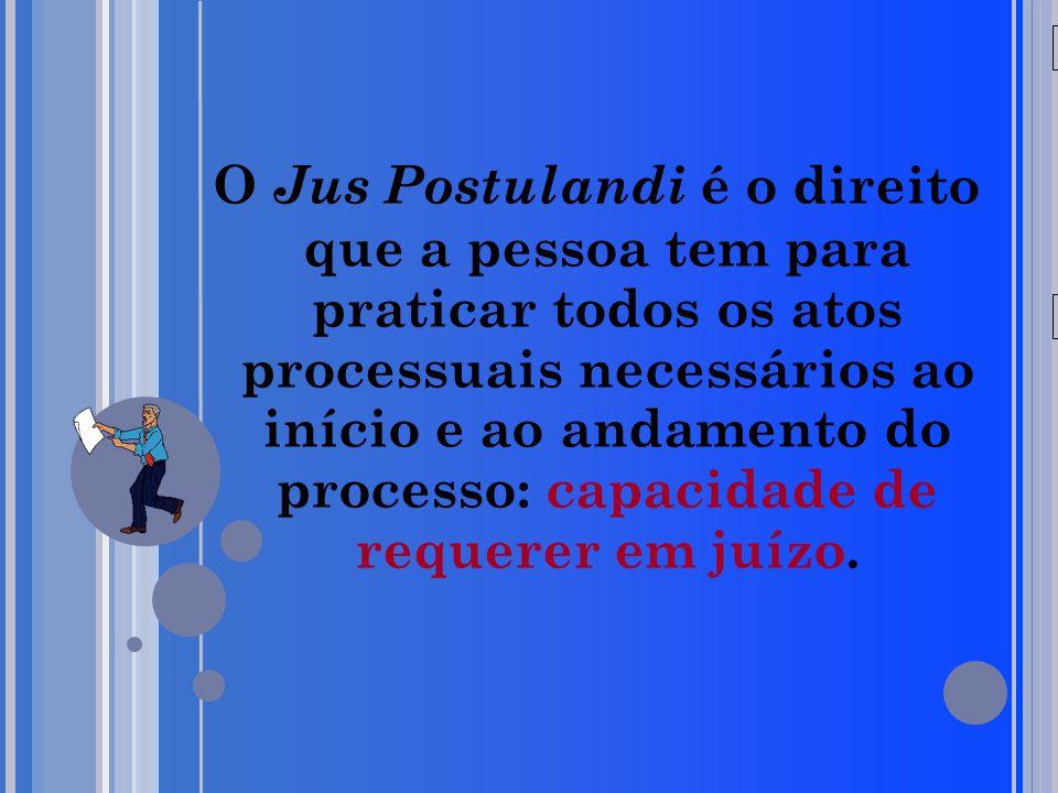 20/05/09 O Jus Postulandi é o direito que a pessoa tem para praticar todos os atos processuais necessários ao início e ao andamento do processo: capac
