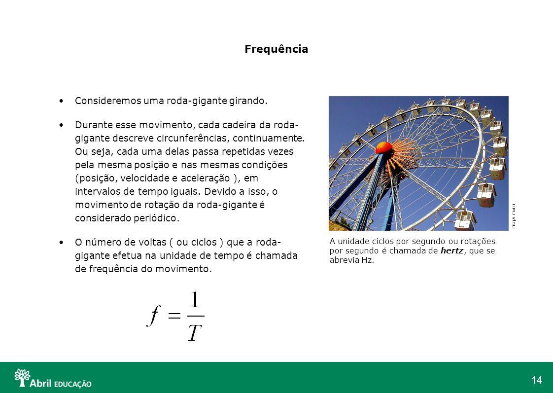 14 Frequência Consideremos uma roda-gigante girando. Durante esse movimento, cada cadeira da roda- gigante descreve circunferências, continuamente. Ou