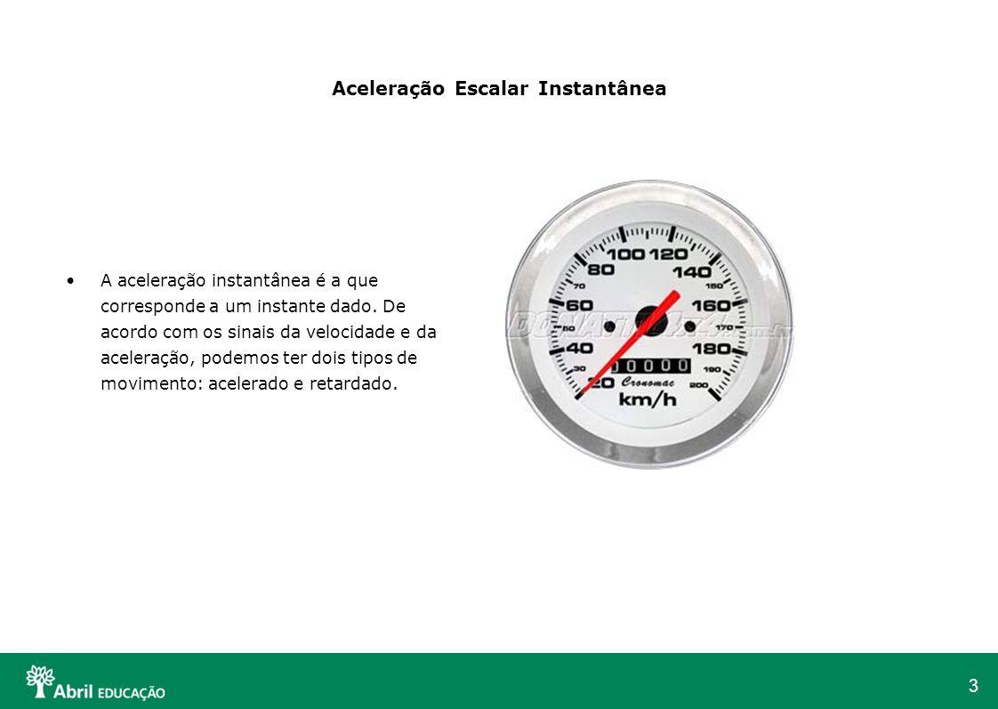 3 Aceleração Escalar Instantânea A aceleração instantânea é a que corresponde a um instante dado. De acordo com os sinais da velocidade e da aceleraçã