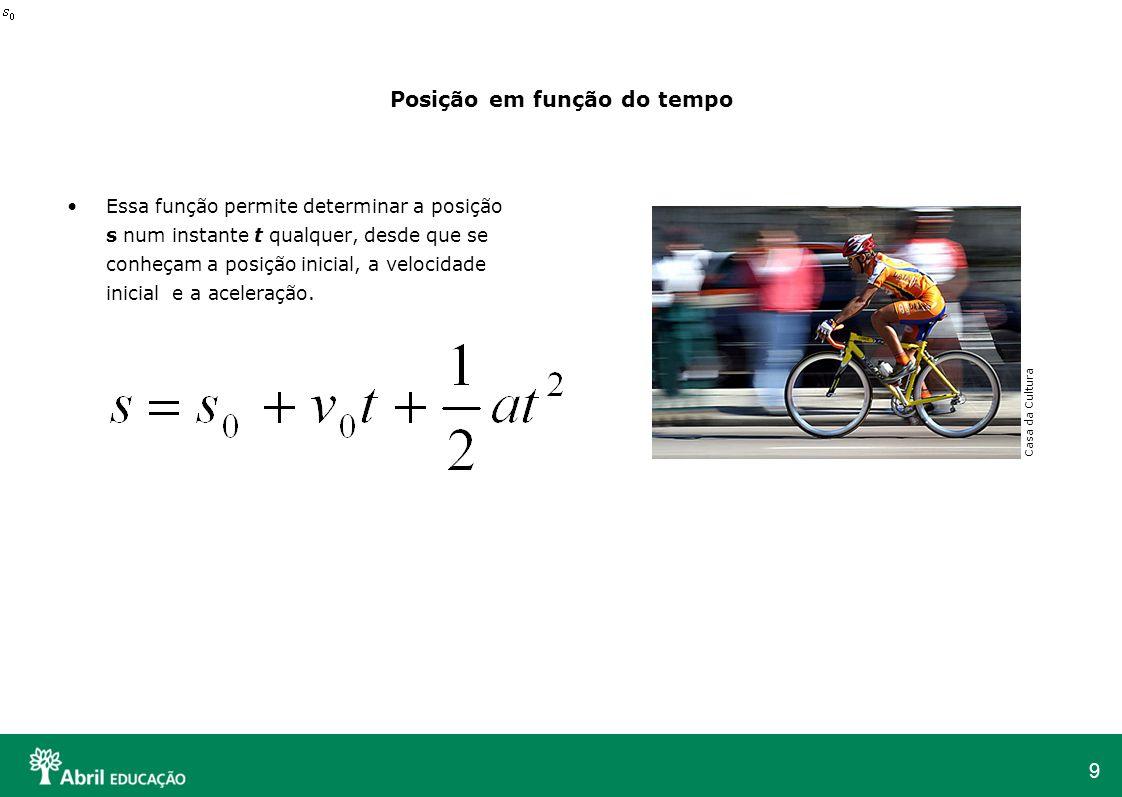 9 Posição em função do tempo Essa função permite determinar a posição s num instante t qualquer, desde que se conheçam a posição inicial, a velocidade