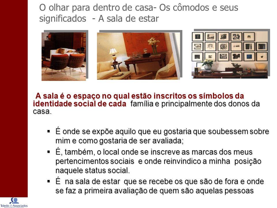 O olhar para dentro de casa- Os cômodos e seus significados - A sala de estar A sala é o espaço no qual estão inscritos os símbolos da identidade social de cada família e principalmente dos donos da casa.