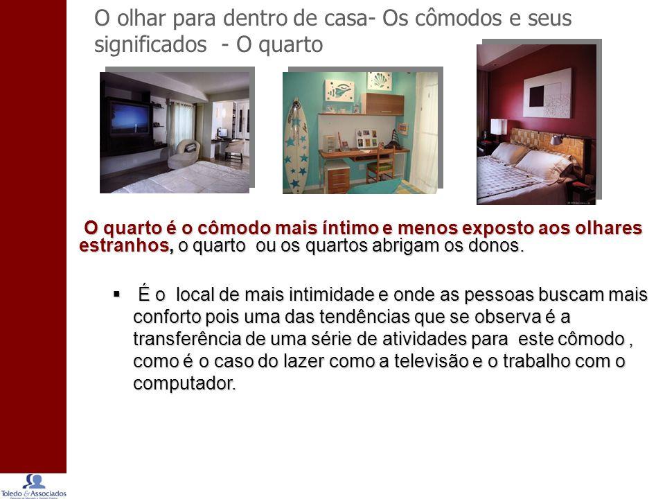O olhar para dentro de casa- Os cômodos e seus significados - O quarto O quarto é o cômodo mais íntimo e menos exposto aos olhares estranhos, o quarto ou os quartos abrigam os donos.
