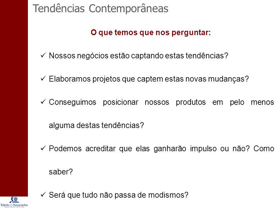 Tendências Contemporâneas O que temos que nos perguntar: Nossos negócios estão captando estas tendências.