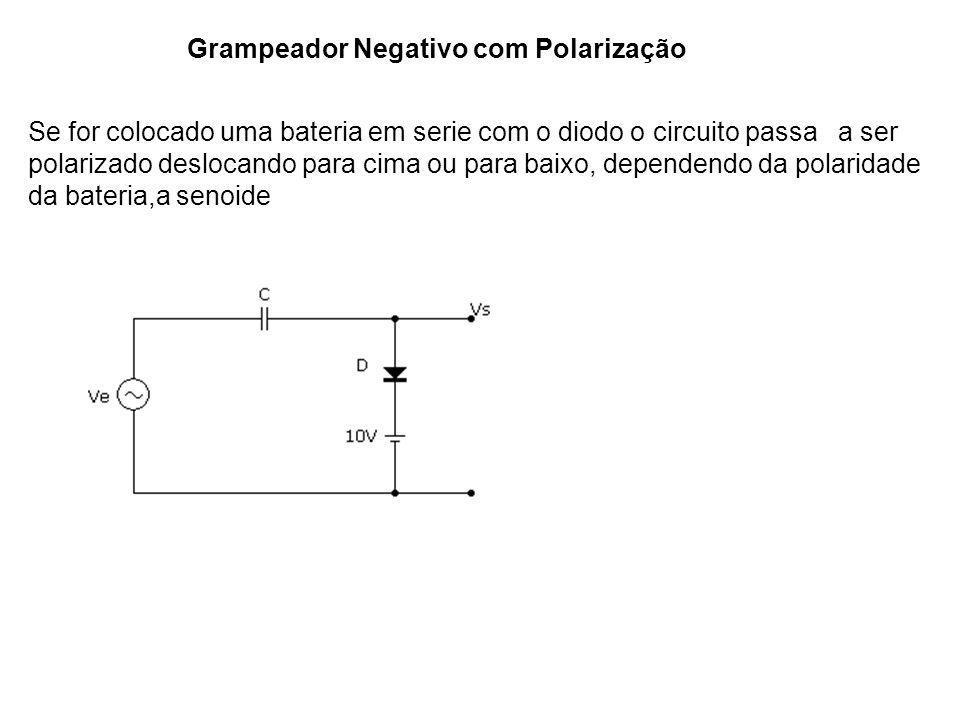 Grampeador Negativo com Polarização Se for colocado uma bateria em serie com o diodo o circuito passa a ser polarizado deslocando para cima ou para ba