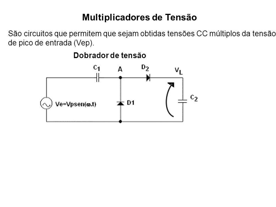 Multiplicadores de Tensão São circuitos que permitem que sejam obtidas tensões CC múltiplos da tensão de pico de entrada (Vep). Dobrador de tensão