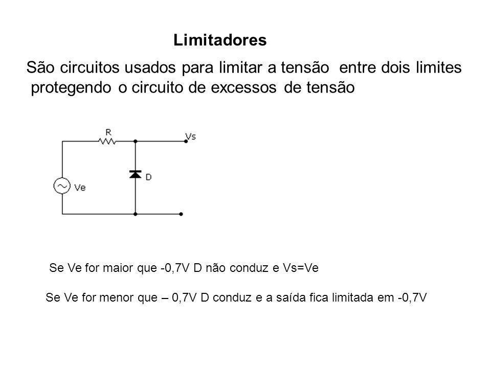Limitadores São circuitos usados para limitar a tensão entre dois limites protegendo o circuito de excessos de tensão Se Ve for maior que -0,7V D não