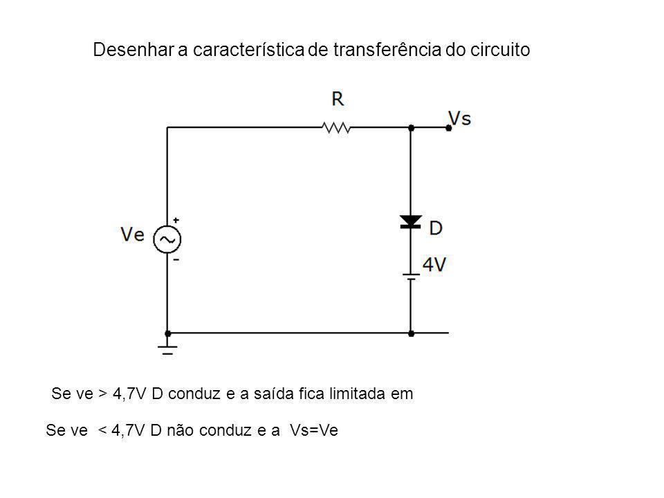 Desenhar a característica de transferência do circuito Se ve > 4,7V D conduz e a saída fica limitada em Se ve < 4,7V D não conduz e a Vs=Ve