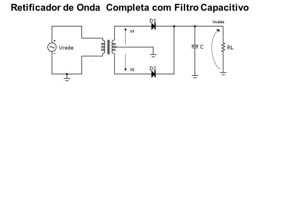 C se carrega quando um dos diodos (D1 ou D2) conduz durante o intervalo de tempo T2 Descarrega através de RL durante o intervalo T1 Simplificação: A tensão de ripple é aproximadamente triangular Carga adquirida no intervalo de tempo T2 é igual a quantidade de carga perdida no intervalo T1