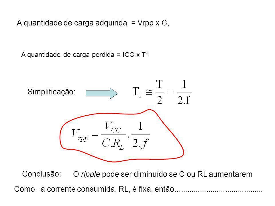 A quantidade de carga adquirida = Vrpp x C, A quantidade de carga perdida = ICC x T1 Simplificação: Conclusão: O ripple pode ser diminuído se C ou RL