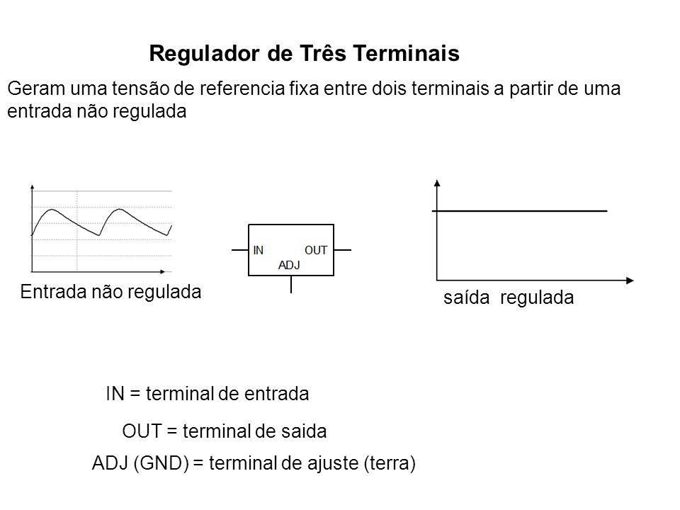 Regulador de Três Terminais Geram uma tensão de referencia fixa entre dois terminais a partir de uma entrada não regulada Entrada não regulada saída r