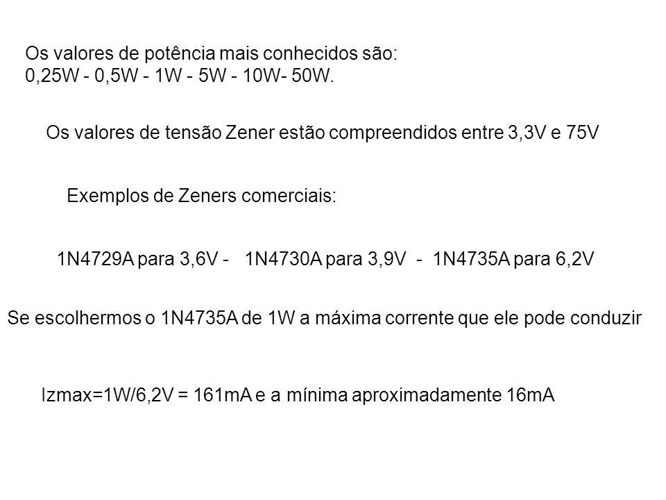 Os valores de potência mais conhecidos são: 0,25W - 0,5W - 1W - 5W - 10W- 50W. Os valores de tensão Zener estão compreendidos entre 3,3V e 75V Exemplo