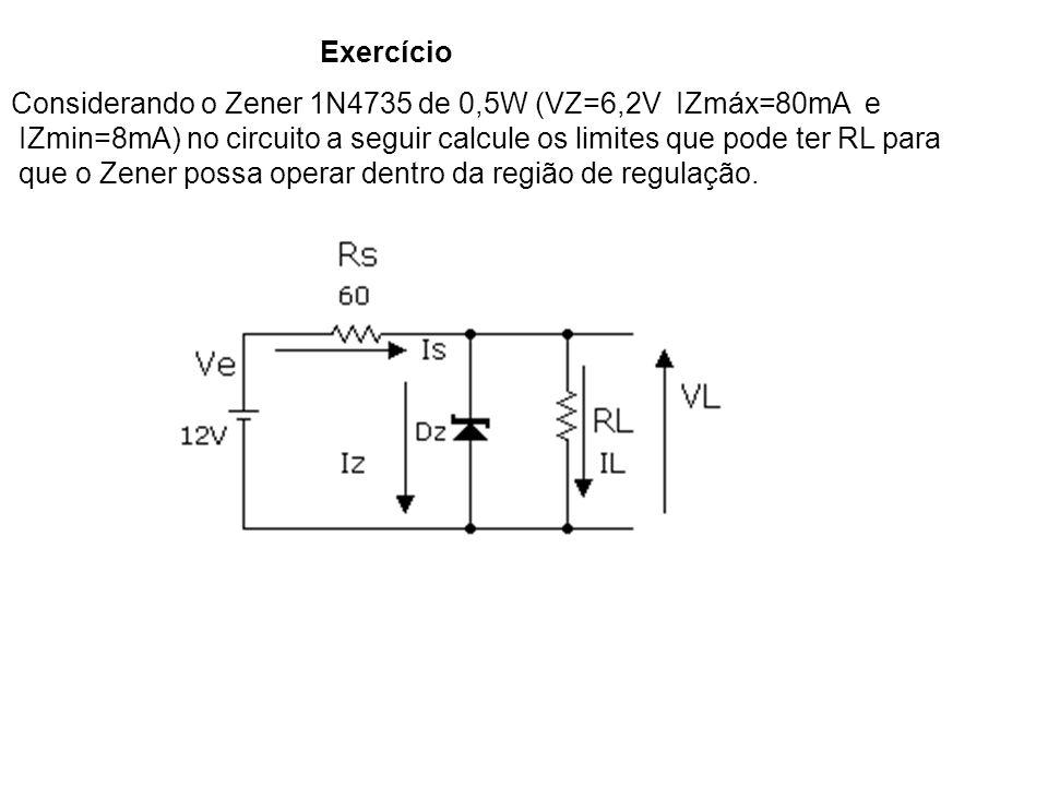Exercício Considerando o Zener 1N4735 de 0,5W (VZ=6,2V IZmáx=80mA e IZmin=8mA) no circuito a seguir calcule os limites que pode ter RL para que o Zene