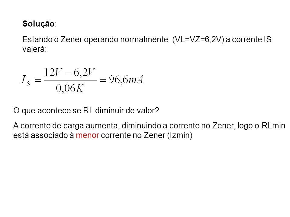 Solução: Estando o Zener operando normalmente (VL=VZ=6,2V) a corrente IS valerá: O que acontece se RL diminuir de valor? A corrente de carga aumenta,
