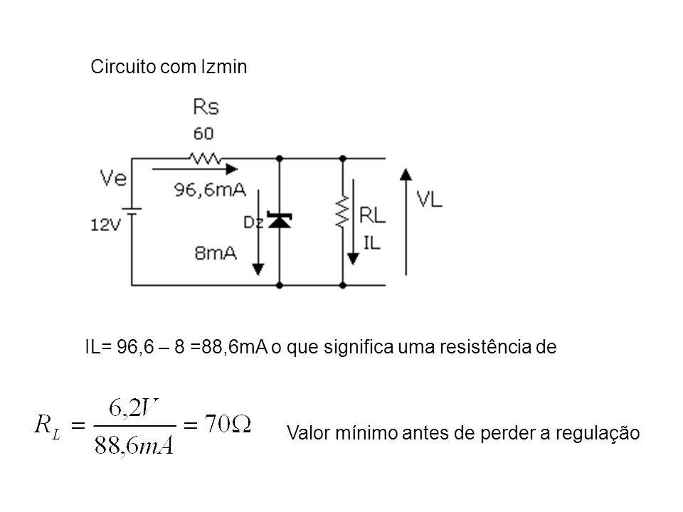 Se RL aumentar diminui a corrente na carga, aumentando a corrente no Zener.