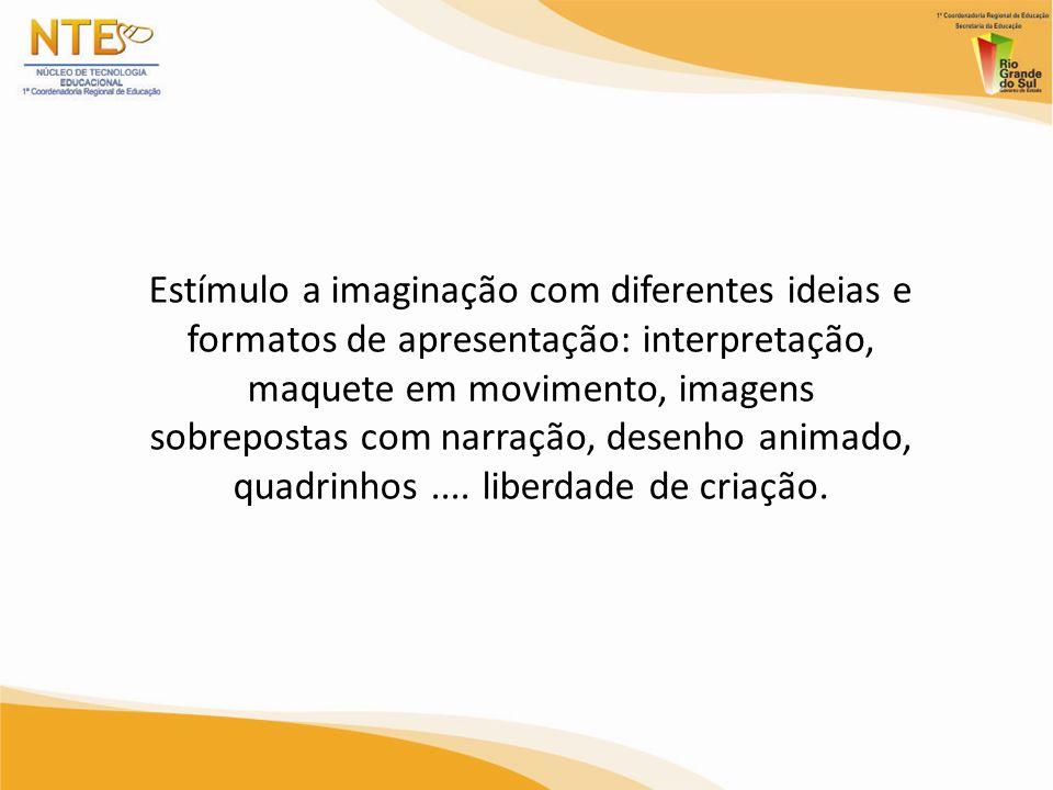 Estímulo a imaginação com diferentes ideias e formatos de apresentação: interpretação, maquete em movimento, imagens sobrepostas com narração, desenho