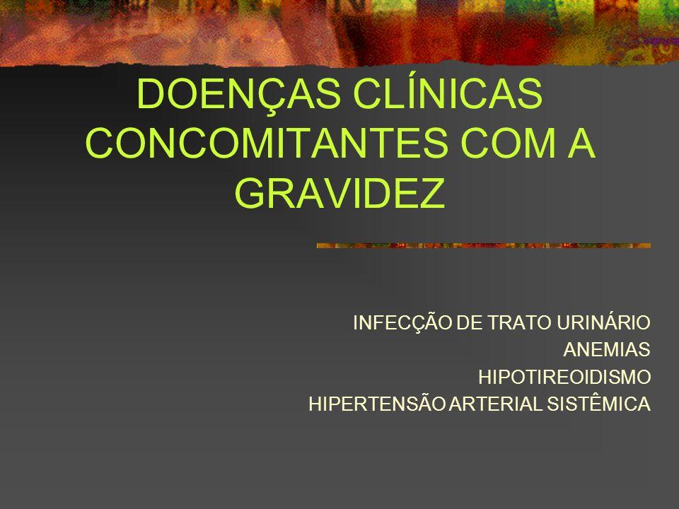 DOENÇAS CLÍNICAS CONCOMITANTES COM A GRAVIDEZ INFECÇÃO DE TRATO URINÁRIO ANEMIAS HIPOTIREOIDISMO HIPERTENSÃO ARTERIAL SISTÊMICA
