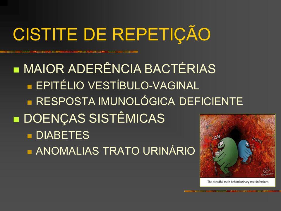 CISTITE DE REPETIÇÃO MAIOR ADERÊNCIA BACTÉRIAS EPITÉLIO VESTÍBULO-VAGINAL RESPOSTA IMUNOLÓGICA DEFICIENTE DOENÇAS SISTÊMICAS DIABETES ANOMALIAS TRATO