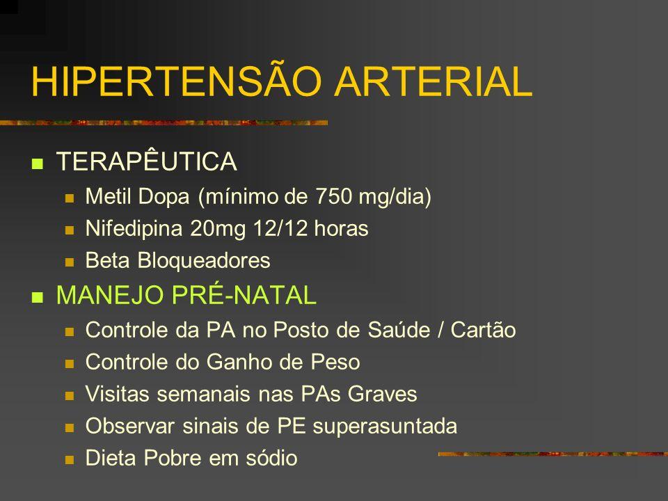 HIPERTENSÃO ARTERIAL TERAPÊUTICA Metil Dopa (mínimo de 750 mg/dia) Nifedipina 20mg 12/12 horas Beta Bloqueadores MANEJO PRÉ-NATAL Controle da PA no Po