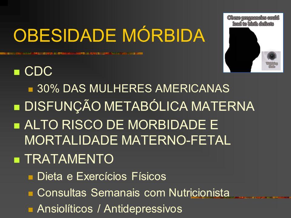 OBESIDADE MÓRBIDA CDC 30% DAS MULHERES AMERICANAS DISFUNÇÃO METABÓLICA MATERNA ALTO RISCO DE MORBIDADE E MORTALIDADE MATERNO-FETAL TRATAMENTO Dieta e