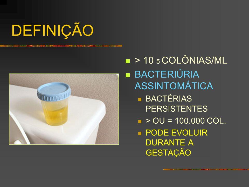 DEFINIÇÃO > 10 5 COLÔNIAS/ML BACTERIÚRIA ASSINTOMÁTICA BACTÉRIAS PERSISTENTES > OU = 100.000 COL. PODE EVOLUIR DURANTE A GESTAÇÃO