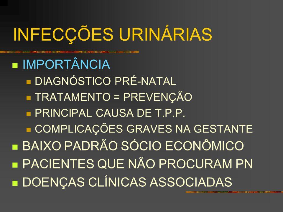 INFECÇÕES URINÁRIAS IMPORTÂNCIA DIAGNÓSTICO PRÉ-NATAL TRATAMENTO = PREVENÇÃO PRINCIPAL CAUSA DE T.P.P. COMPLICAÇÕES GRAVES NA GESTANTE BAIXO PADRÃO SÓ