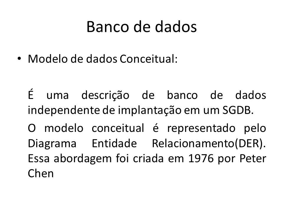 Banco de dados Modelo de dados Conceitual: É uma descrição de banco de dados independente de implantação em um SGDB. O modelo conceitual é representad