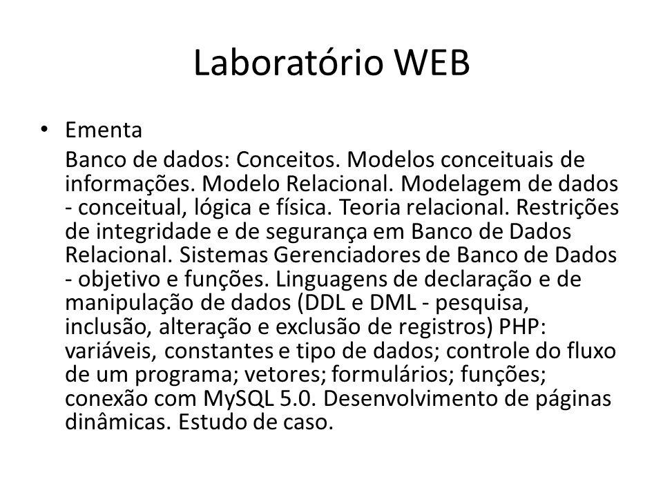 Laboratório WEB Ementa Banco de dados: Conceitos. Modelos conceituais de informações. Modelo Relacional. Modelagem de dados - conceitual, lógica e fís