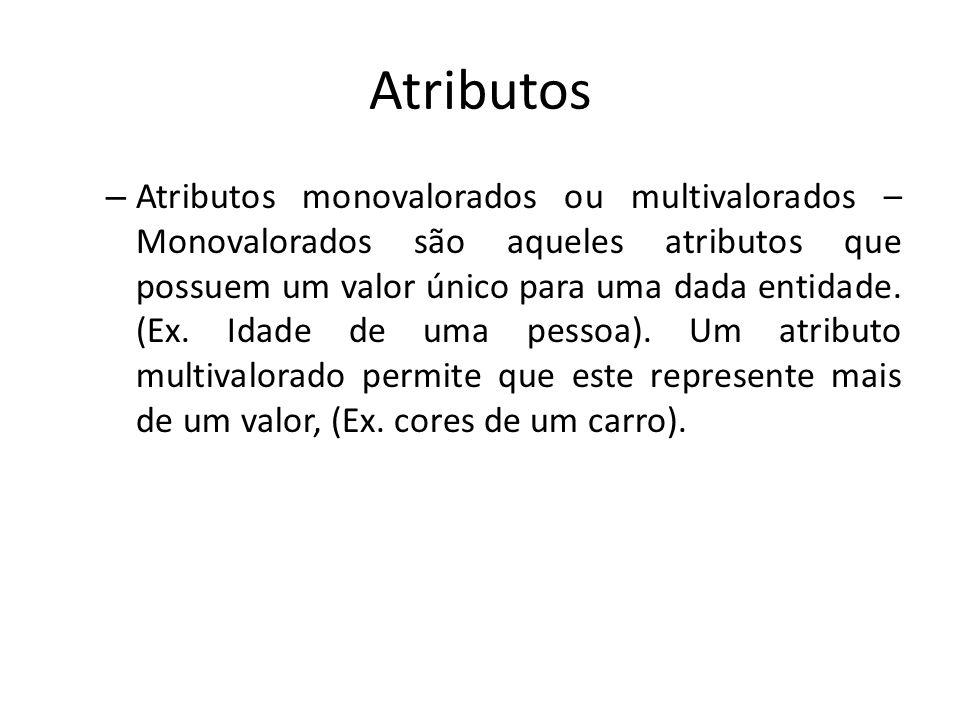 Atributos – Atributos monovalorados ou multivalorados – Monovalorados são aqueles atributos que possuem um valor único para uma dada entidade. (Ex. Id