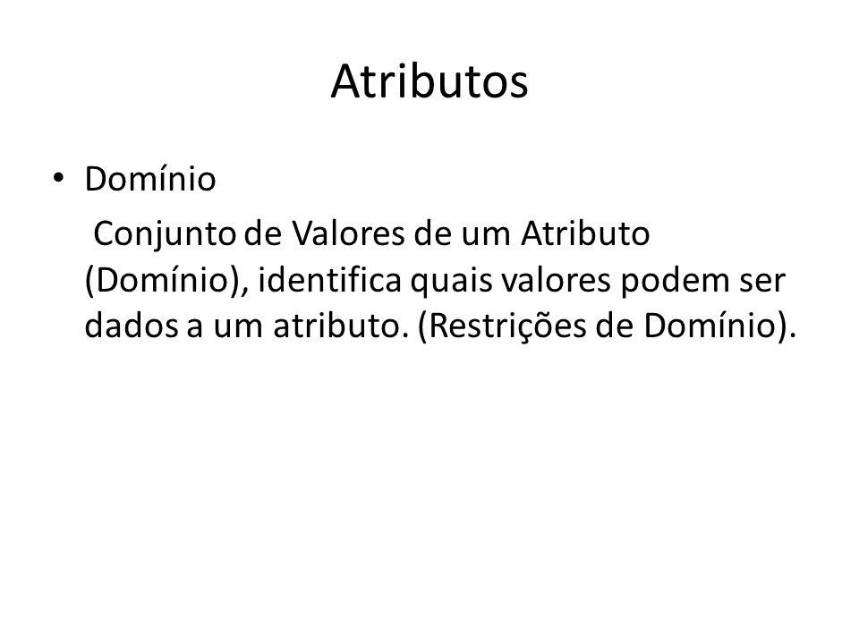 Atributos Domínio Conjunto de Valores de um Atributo (Domínio), identifica quais valores podem ser dados a um atributo. (Restrições de Domínio).