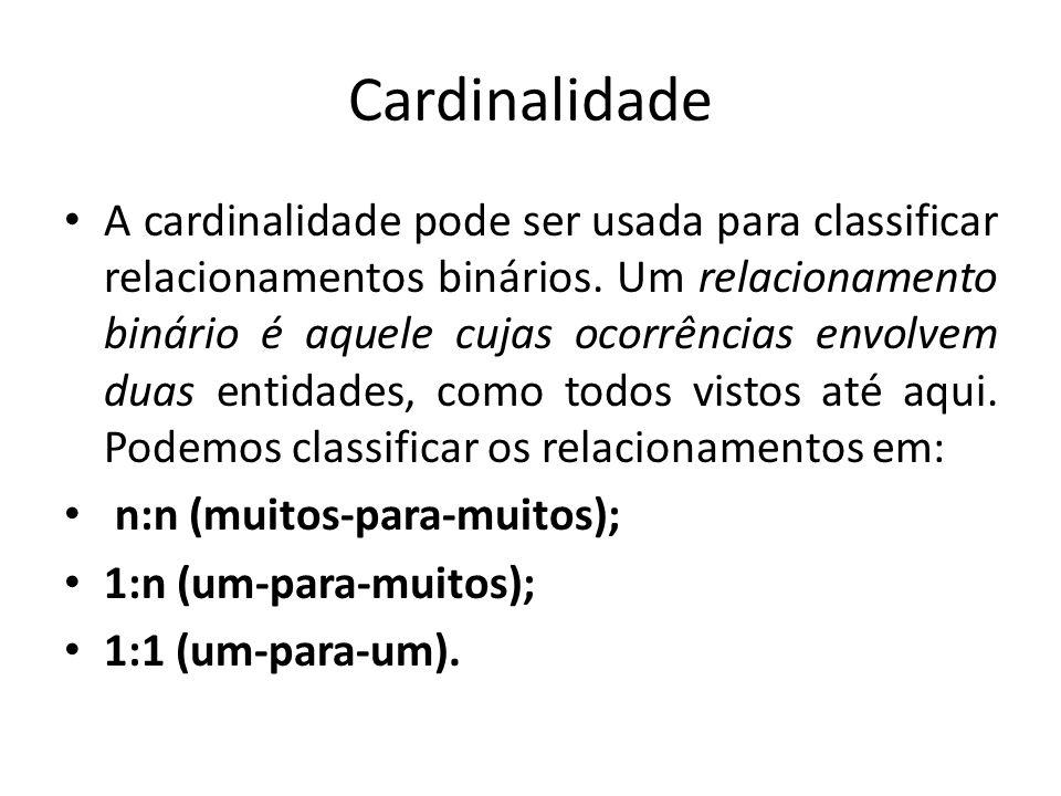 Cardinalidade A cardinalidade pode ser usada para classificar relacionamentos binários. Um relacionamento binário é aquele cujas ocorrências envolvem