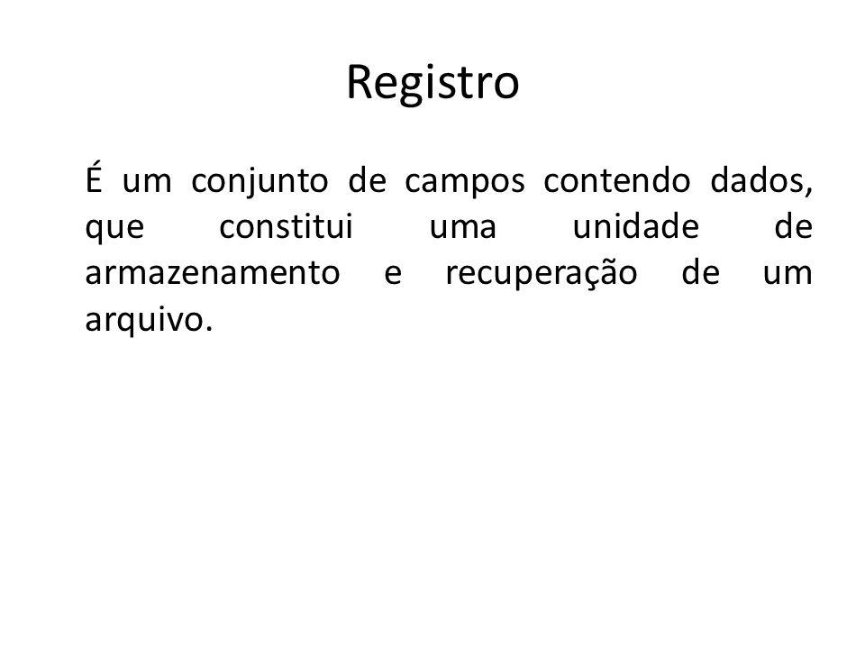 Registro É um conjunto de campos contendo dados, que constitui uma unidade de armazenamento e recuperação de um arquivo.