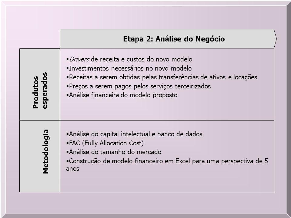 Etapa 2: Análise do Negócio Produtos esperados Metodologia Drivers de receita e custos do novo modelo Investimentos necessários no novo modelo Receita