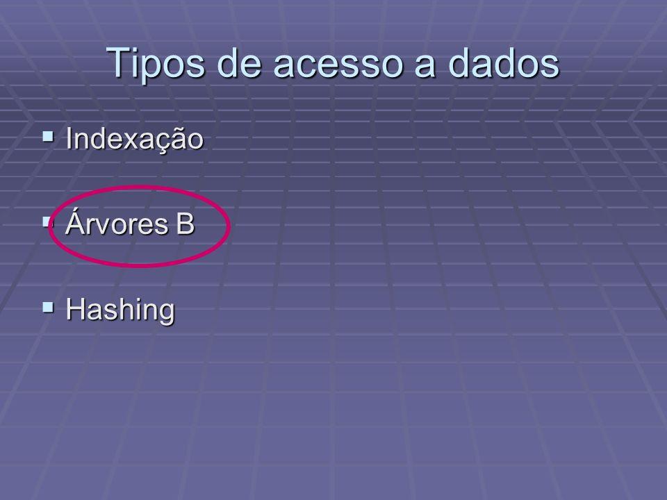 Tipos de acesso a dados Indexação Indexação Árvores B Árvores B Hashing Hashing