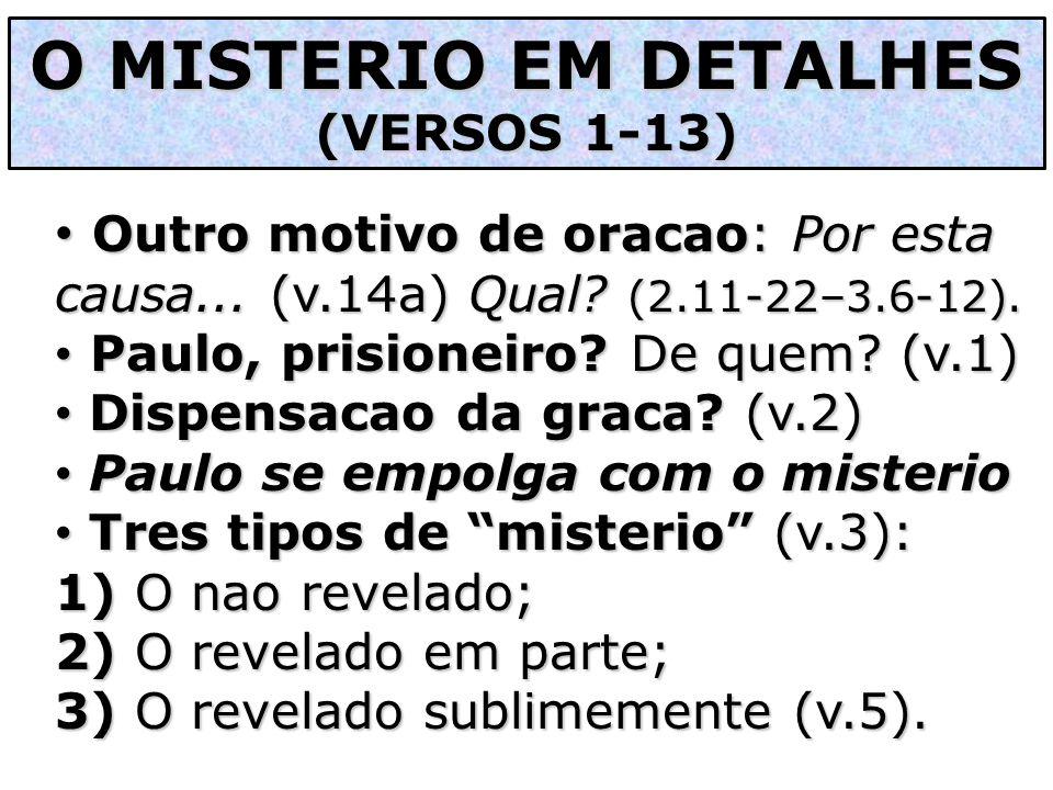 Outro motivo de oracao: Por esta causa... (v.14a) Qual? (2.11-22–3.6-12). Outro motivo de oracao: Por esta causa... (v.14a) Qual? (2.11-22–3.6-12). Pa
