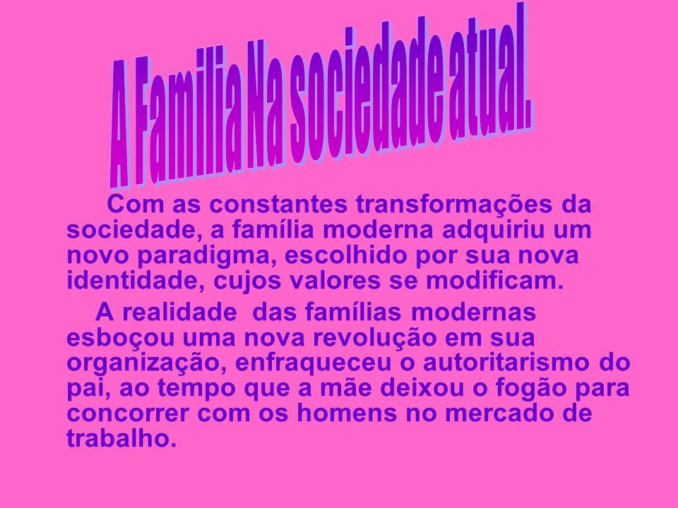 Com as constantes transformações da sociedade, a família moderna adquiriu um novo paradigma, escolhido por sua nova identidade, cujos valores se modif