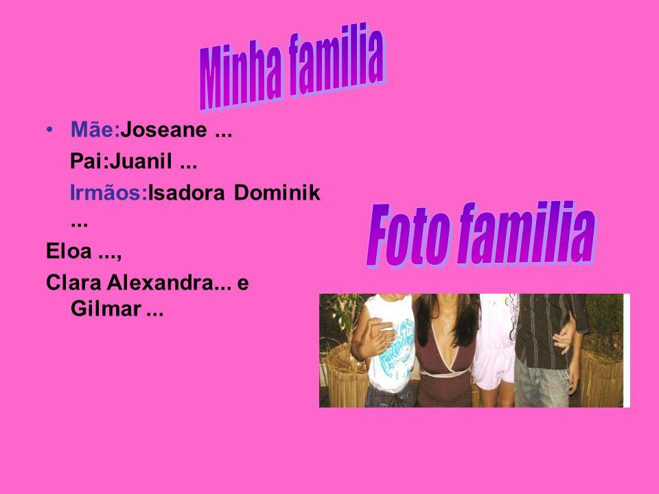 Mãe:Joseane... Pai:Juanil... Irmãos:Isadora Dominik... Eloa..., Clara Alexandra... e Gilmar...
