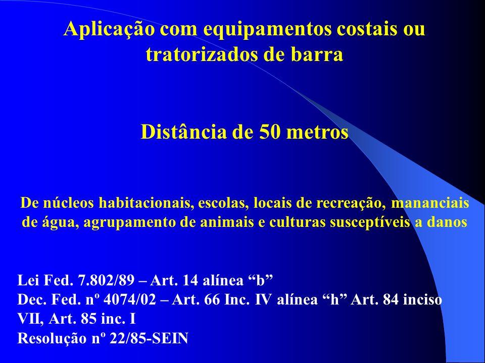 Aplicação com equipamentos costais ou tratorizados de barra Distância de 50 metros De núcleos habitacionais, escolas, locais de recreação, mananciais