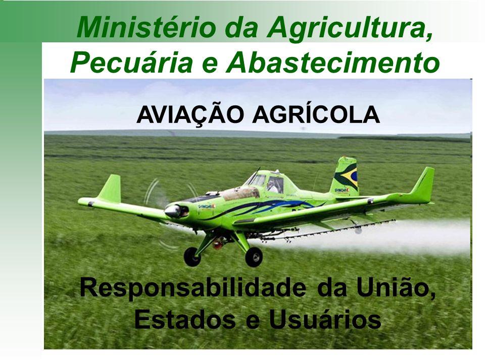Ministério da Agricultura, Pecuária e Abastecimento AVIAÇÃO AGRÍCOLA Responsabilidade da União, Estados e Usuários
