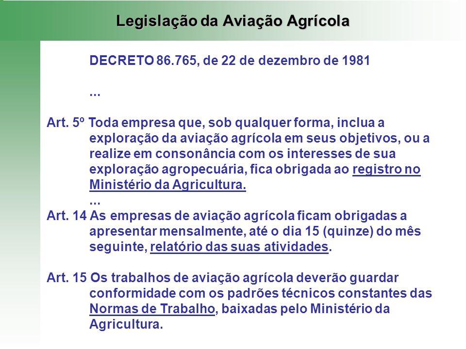 Legislação da Aviação Agrícola DECRETO 86.765, de 22 de dezembro de 1981... Art. 5º Toda empresa que, sob qualquer forma, inclua a exploração da aviaç