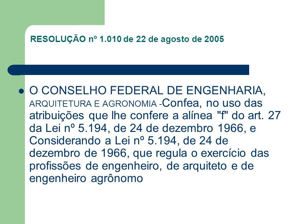 RESOLUÇÃO nº 1.010 de 22 de agosto de 2005 O CONSELHO FEDERAL DE ENGENHARIA, ARQUITETURA E AGRONOMIA - Confea, no uso das atribuições que lhe confere