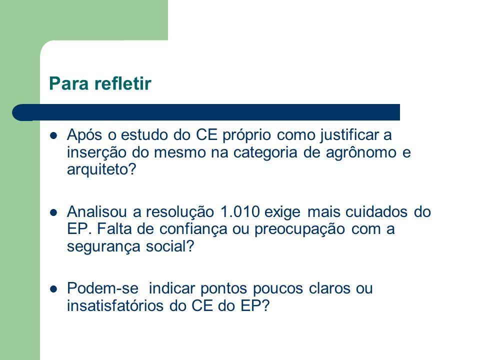 Para refletir Após o estudo do CE próprio como justificar a inserção do mesmo na categoria de agrônomo e arquiteto? Analisou a resolução 1.010 exige m