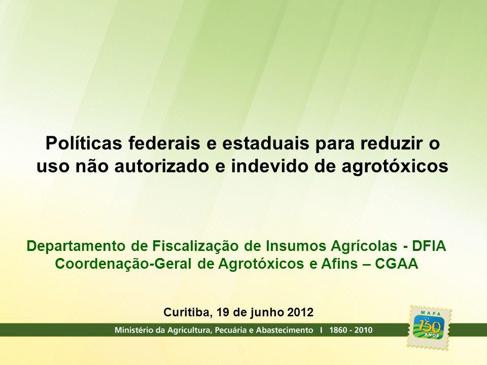 Políticas federais e estaduais para reduzir o uso não autorizado e indevido de agrotóxicos Departamento de Fiscalização de Insumos Agrícolas - DFIA Co