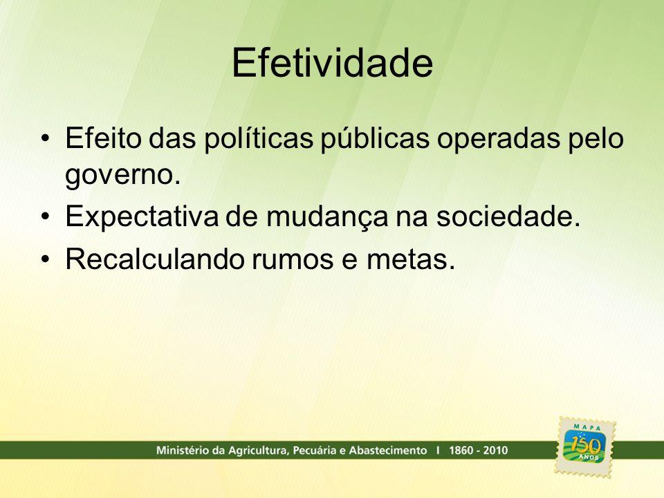 Efetividade Efeito das políticas públicas operadas pelo governo. Expectativa de mudança na sociedade. Recalculando rumos e metas.