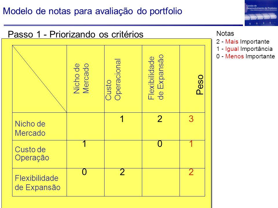Nicho de Mercado Custo Operacional Flexibilidade de Expansão Peso Nicho de Mercado Custo de Operação Flexibilidade de Expansão 1 2 01 0 2 3 1 2 Notas