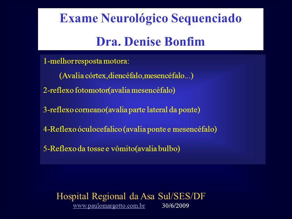 1-melhor resposta motora: (Avalia córtex,diencéfalo,mesencéfalo...) 2-reflexo fotomotor(avalia mesencéfalo) 3-reflexo corneano(avalia parte lateral da