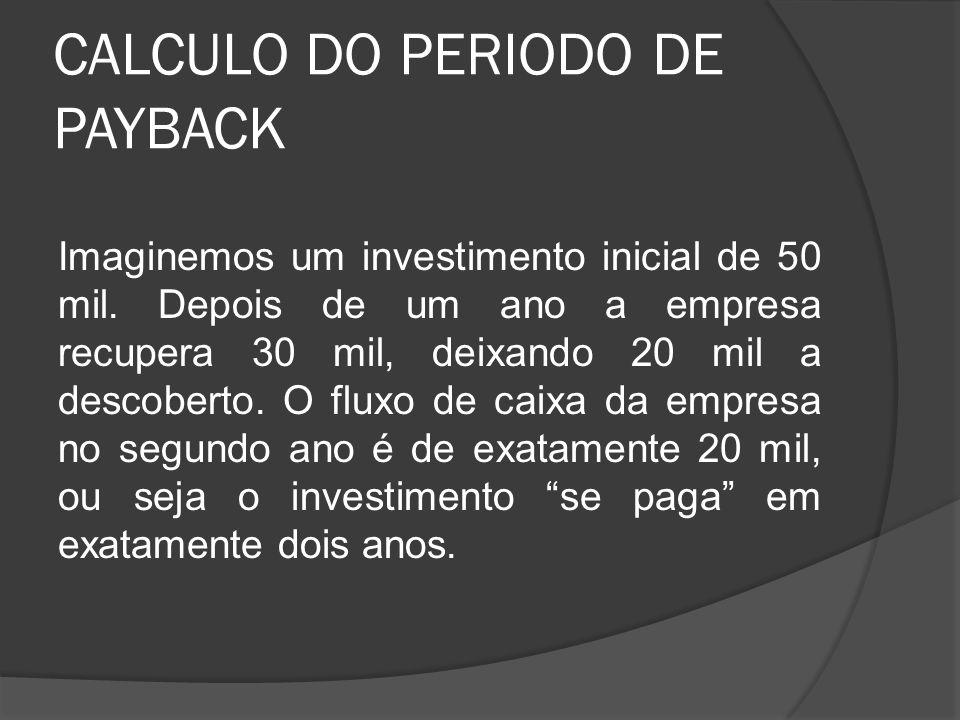 CALCULO DO PERIODO DE PAYBACK Imaginemos um investimento inicial de 50 mil. Depois de um ano a empresa recupera 30 mil, deixando 20 mil a descoberto.